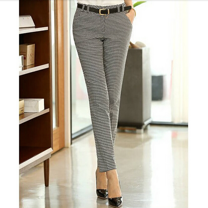 Image 4 - 2019 Spring Summer Autumn Women Slim Casual Pants Work Wear Career Houndstooth Pants Straight Pencil Pants Women trousers female-in Pants & Capris from Women's Clothing