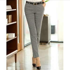 Image 4 - 2020 Spring Summer Autumn Women Slim Casual Pants Work Wear Career Houndstooth Pants Straight Pencil Pants Women trousers female