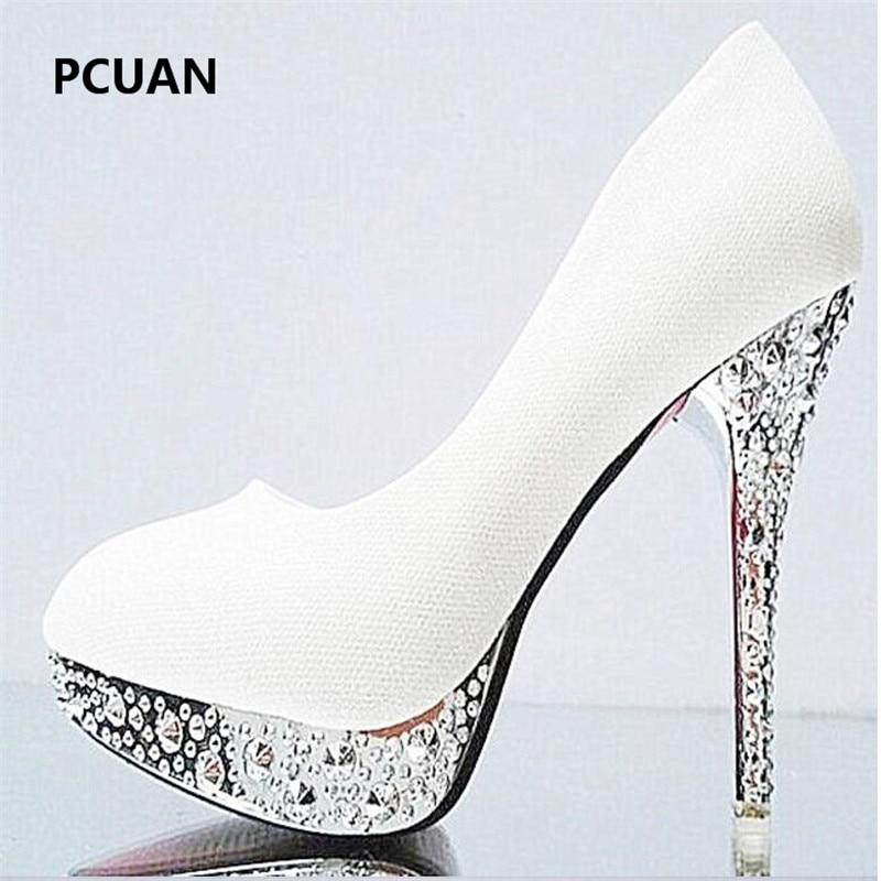 Bridal-Shoes Platform Crystal High-Heels Ladies Round-Head Shallow-Mouth Waterproof 11cm