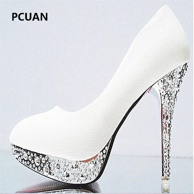 Bridal shoes wedding shoes ladies waterproof platform shallow mouth round head high heels crystal sequins 11cm high heels 35-41