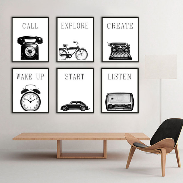 Modern nordic poster black and white retro industrial style multi pictyre still life living room decor canvas print typewriter