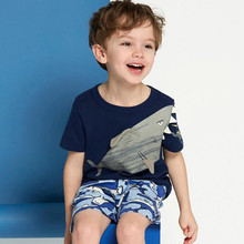 Pequeño maven niños 2018 verano bebé niños ropa de manga corta camiseta de tiburón camiseta de marca de algodón tops 51075