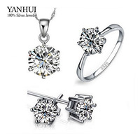 95 OFF 100 Real 925 Sterling Silver Jewelry Sets For Women Luxury 6mm CZ Diamond Wedding