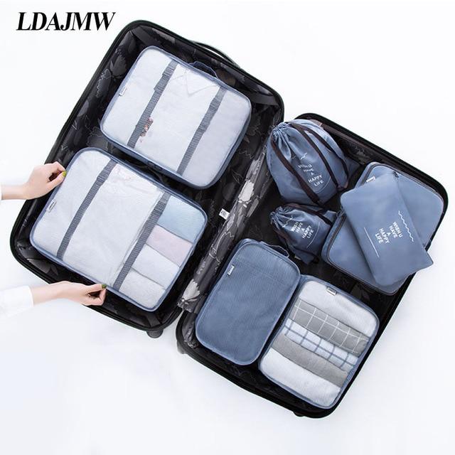 LDAJMW 8 PCS Travel Storage Bag Set Waterproof For ClothesTidy Organizer Pouch Suitcase Home Closet Divider Container Organiser