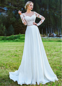 Image 3 - Bateau คอ A Line ชุดแต่งงาน 2020 ชีฟองลูกไม้ Appliques ยาวแขนด้านนอกชุดเจ้าสาว