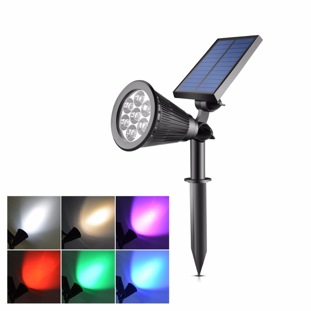 Led Solar Lamp Lawn Light 2 Modes Switch 7leds Outdoor