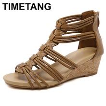 TIMETANG2021 New Arrival Women Shoes Comfort Rome Gladiator Casual Beach Sandals Woman Summer Zip Sandalias Large Size 35-42E388