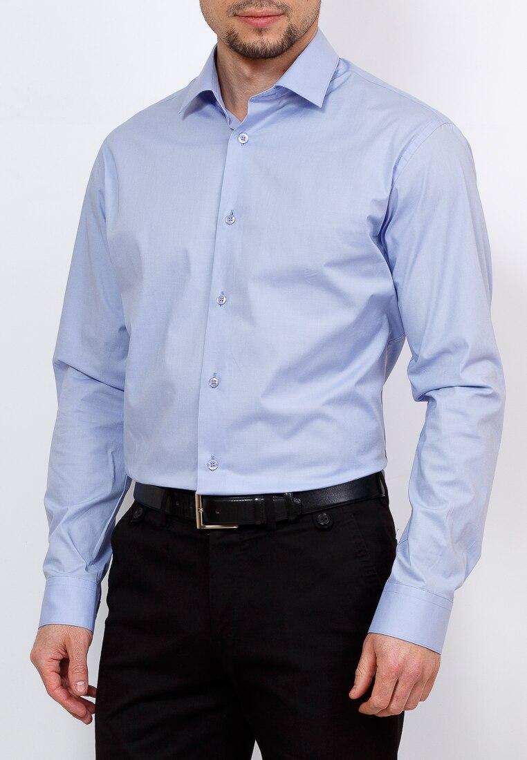 Shirt men's long sleeve GREG 220/131/6403/Z STRETCH Blue plus size bird and floral print v neck long sleeve t shirt