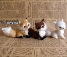 3 pieces a lot cute simulation fox toys handicraft Polyethylene&fur lovely fox baby dolls gift about 13x5x11cm