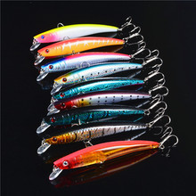 New 10Pcs 3D Eye Fishing Bait  Minnow Lure Isca Artificial China Hard Warped Fishing Bass Fish Tackle With  Hooks 11g/11.5cm