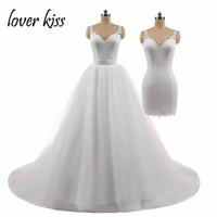 Lover Kiss Sexy Shoulders Lace Wedding Dress 2 Pieces Tulle Marriage Dance Bridal Gowns Detachable Train vestido de noiva 2 in 1