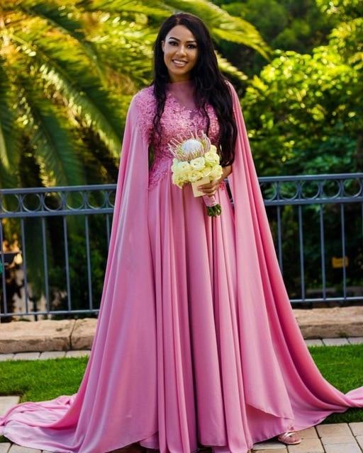 Robe de bal en mousseline de soie rose à col haut avec dentelle appliqué robe caftan Dubai robes de soirée musulmanes longue robe de bal robe de soirée