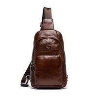 GSQ Hot Genuine Leather Men Shoulder Bag Fashion Trending Oil Wax Leather Mens Crossbody Bag Coffee