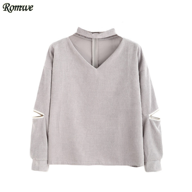 ROMWE Women Tops and Blouses 2016 New Fashion Autumn Clothes Grey Cut Out V Neck Long Sleeve Zipper Corduroy Blouse