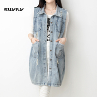 Summer Long Denim Tank Large Size 4XL 5XL New 2019 Korean Women Coat Denim Jacket Sections With Holes