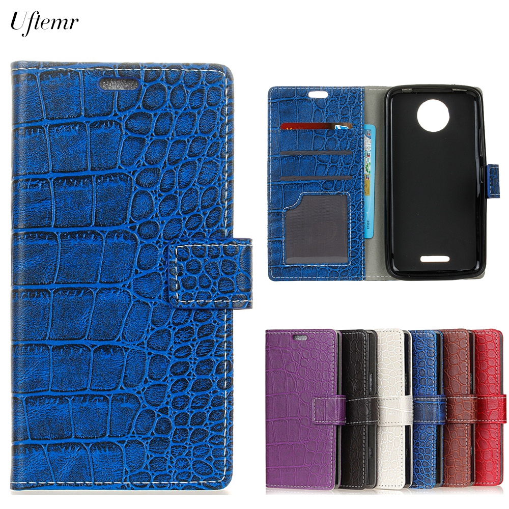 Uftemr Vintage Crocodile PU Leather Cover For Moto C 2017 Protective Silicone Case Wallet Card Slot Phone Acessories