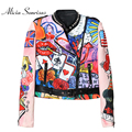 2017 Women Spring Jacket Space Cotton Heavy Cute Cartoon Graffiti Printing Street Short Colorful Motorcycle Graffiti Coat MF6619