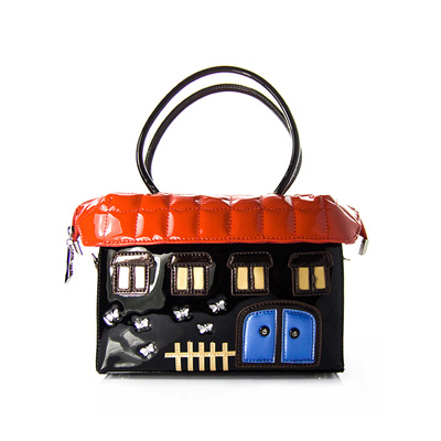 Women Lady Fashion Designer Handmade Sweet Candy black House Bag Small Garden House Colored Squares European and American Style gardening tool small rake black cream colored