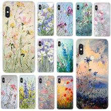 Hard Phone Cover Case Oil Painting Flowers for Xiaomi Mi Mix