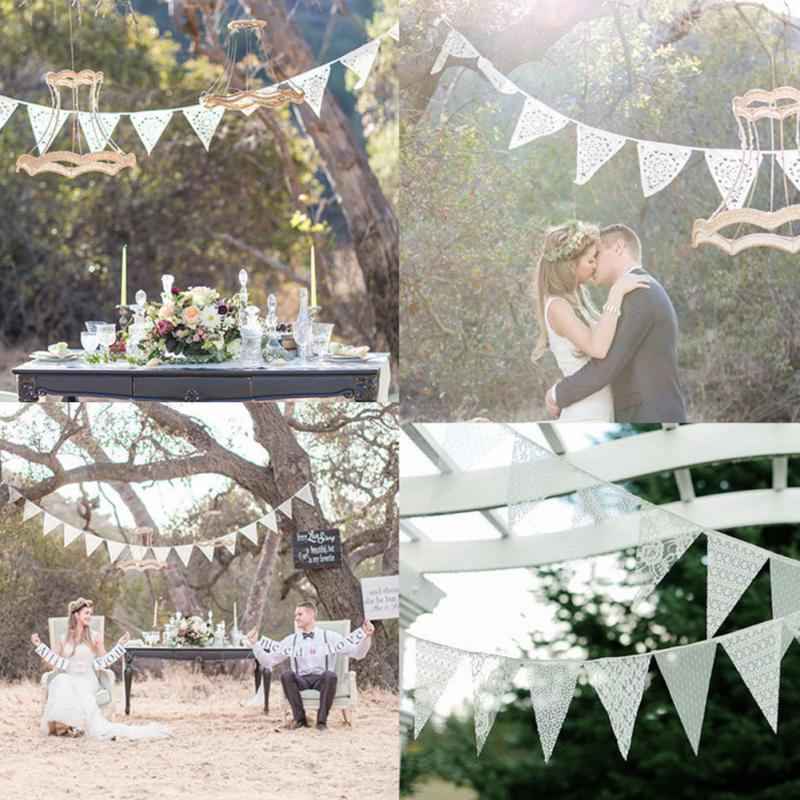 Banner Pennant Lace-Fabric Wedding-Flag Birthday Garland Home-Decoration Party Bunting
