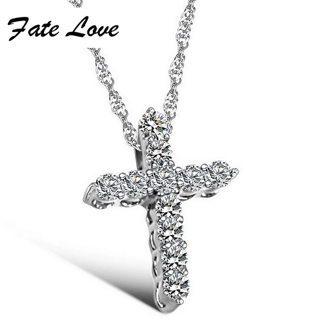 Fate Love New Fashion Hot Salling Siliver Color Shining Cross Pendant Necklaces For Woman Party Jewelry Gift Free Shipping FL041