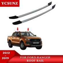 лучшая цена 2019 Roof Rails Rack Carrier Bars Side Rail For Ford RangerT6 T7 2012 2013 2014 2015 2016 2017 2018 2019 Double Cabin Sliver