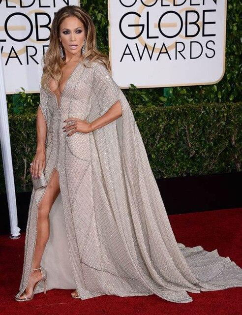 Роскошные ручной работы Кристаллы платье 2015 Золотой Глобус Знаменитости Красном ковре платья Sexy длинное Вечернее Платье