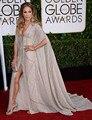 Artesanal de luxo Cristais vestido 2015 Golden globe Awards Celebridade vestidos no tapete Vermelho Sexy Vestido de Noite longo