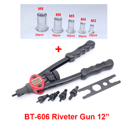 YOUSAILING Riveter Nut Gun 12(M3-M8) + Nuts M3-20pcs + M4-50pcs + M5-50pcs + M6-50pcs+M8-20PCS
