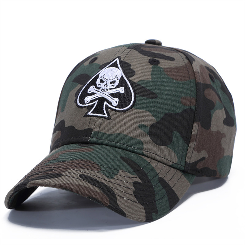 New Men Women Baseball Cap Unisex Camouflage Skull Embroidery Cap Cotton Outdoor Casual Snapback Hat For Boys Girls Exquisite (In) Workmanship
