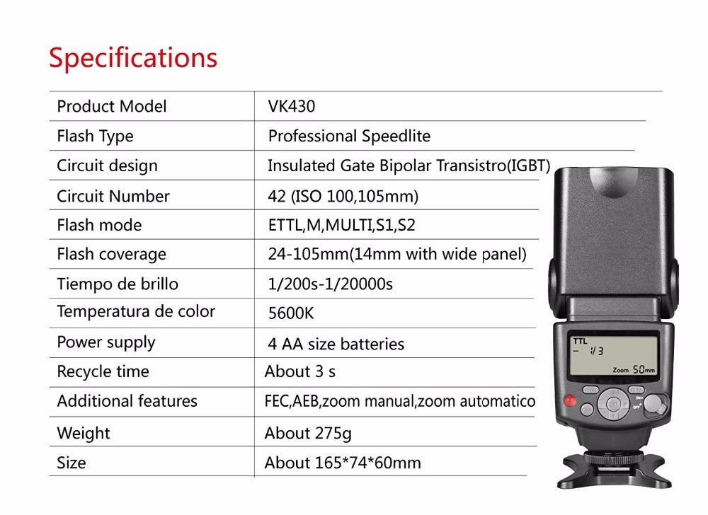 Voking VK430 E-TTL ÉCRAN LCD Speedlite Chaussure Flash intégré pour Canon EOS 70D 77D 80D Rebelles T7i T6i T6s T6 T5i T5 T4i T3i SL2 - 6
