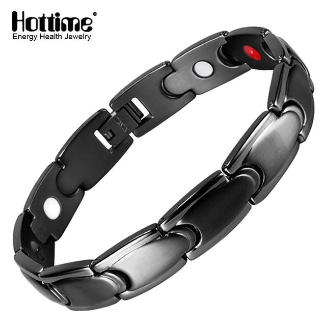 Hottime Black Color Bio Elements Energy Bracelet Magnetic 316l Stainless Steel Health Bracelets Bangles Men S Fashion
