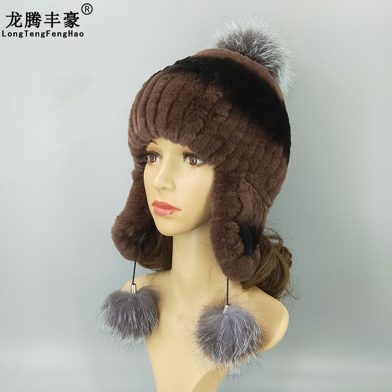 Winter Real Rex Rabbit Fur Hats Women Beanies Natural Rex Rabbit Ear protect Hat Lady Cap With Cute Fox Pompom Ball Warm Fur Hat in Women 39 s Skullies amp Beanies from Apparel Accessories