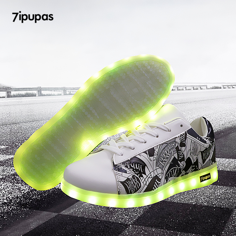 7ipupas Luminous led shoes Usb charge lights up sneakers boy girl glowing sneakers Neon 11 colorfull