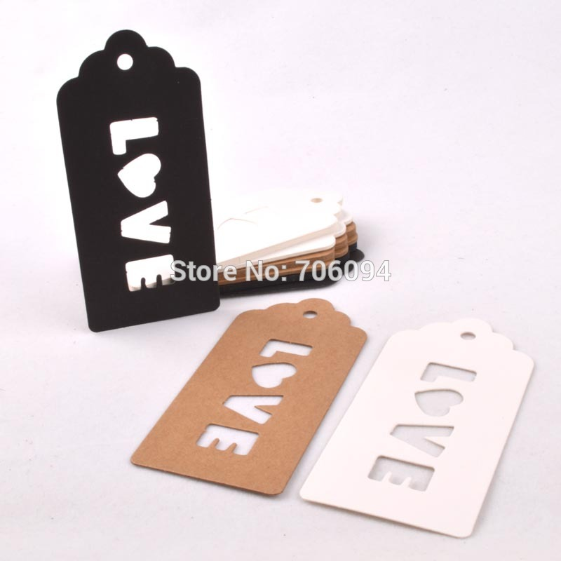 1000PCS 4.7*10cm LOVE Blank Gift hang tag For Wedding Party Decor Gift Craft Decorative Label custom logo paper card tag