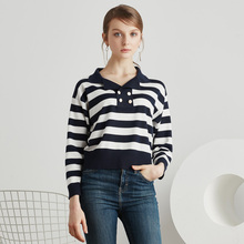 2017 spring assortment classic navy fashion buttons full sleeve crop high knitting cotton blue white striped girls polo shirt 5041