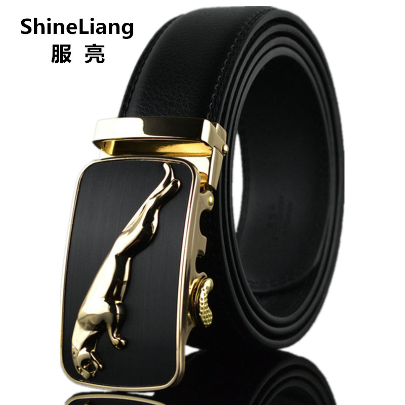 Shineliang Belts for men Leather Famous brand Designers high quality Luxury Wide 3.5CM Metal Automatic buckle male waist tape