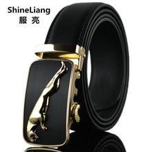 Shineliang Belts for men Leather Famous brand Designers high quality Luxury Wide 3 5CM Metal Automatic