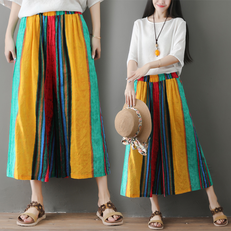 #0630 Color Striped   Wide     Leg     Pants   Women Elastic Waist Big Size Loose Vintage Beach Trousers Ladies Vintage Calf-length Summer