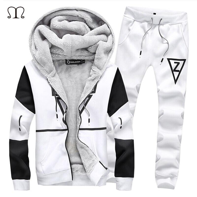 Winter Two Pieces Sets Fleece Tracksuit Sets Male 2017 Sweatshirt+Pants Sporting Warm Suit Men Plus Size 5XL Hoodies Set