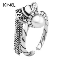 Natural Pearl Ring 925 Sterling Silver Vintage Jewelry Fringed Opening Rings For Women Luxury Christmas Gift