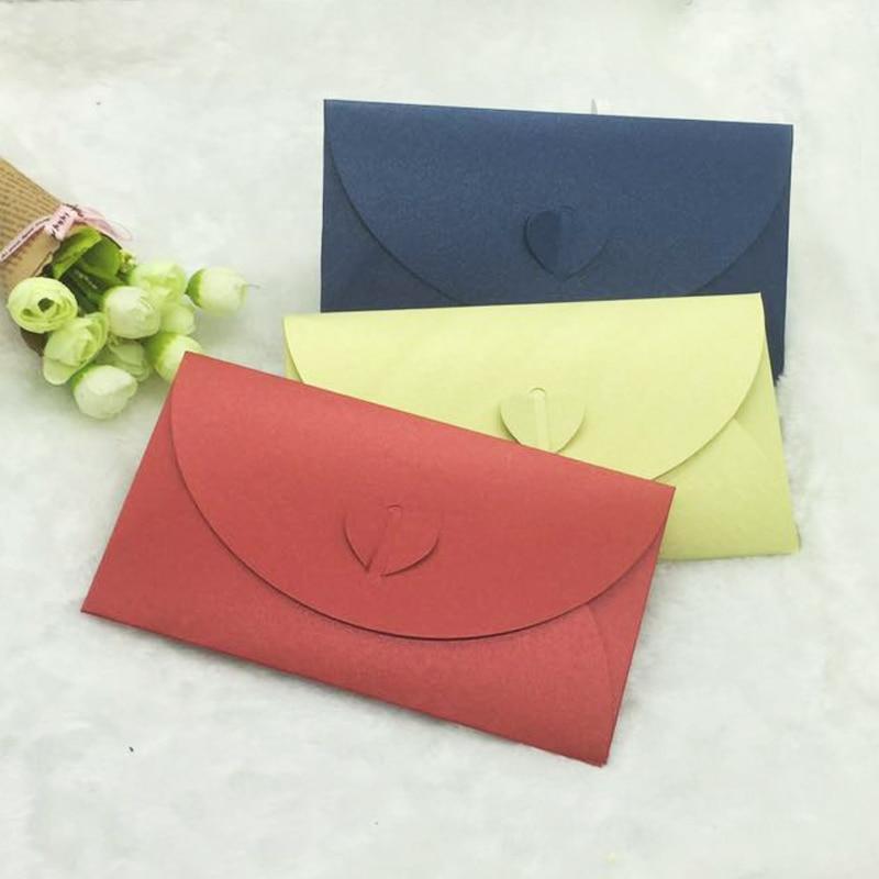 50PCS/LOT Colored love Buckle Kraft Paper Envelopes Simple Love Retro Buckle Decorative Envelope Small Paper Envelope 9.9*17.8cm
