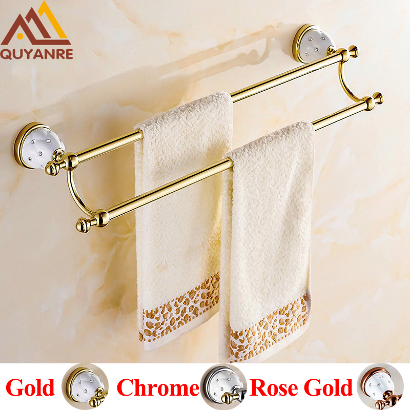 Quyanre Bathroom Hardware Towel Bar with Hooks Gold Chrome Rose Gold Creamic Holder with Diamonds Bathroom Accessories Hangers