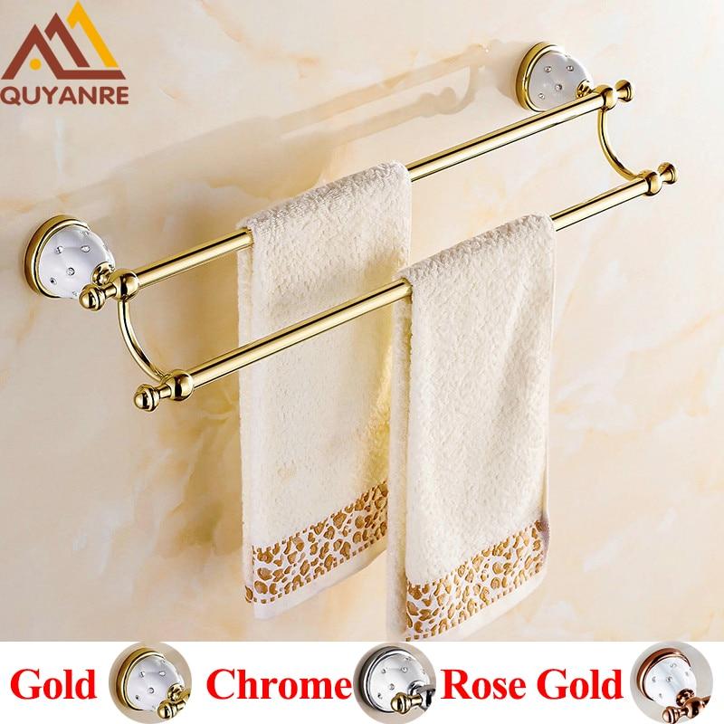 Quyanre Bathroom Hardware Towel Bar with Hooks Gold Chrome Rose Gold Creamic Holder with Diamonds Bathroom Accessories Hangers anon маска сноубордическая anon somerset pellow gold chrome