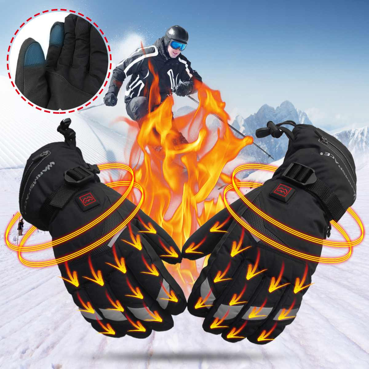 Battery Electric Heated Gloves Motorcycle Gloves TouchScreen Winter Warm Waterproof Protective Gloves Guantes Moto Luvas