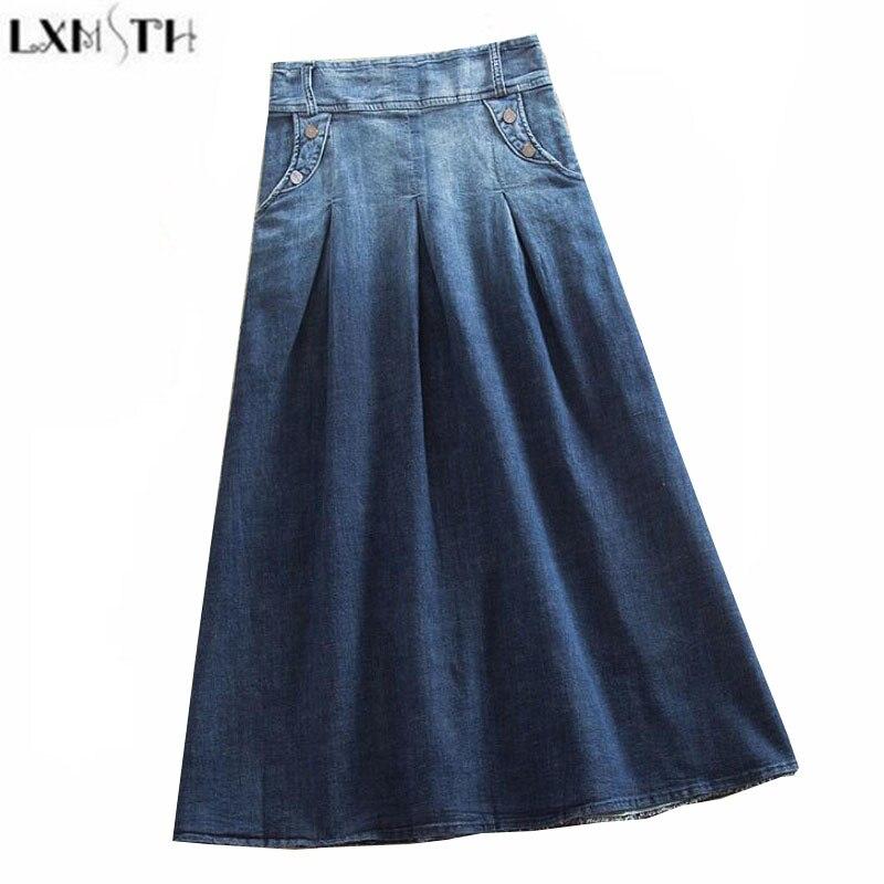 LXMSTH Vintage Womens Denim Skirts Plus Size Elastic Waist Gradient A Line Casual Skirts Women Long Jeans Skirt High Waist S-8XL