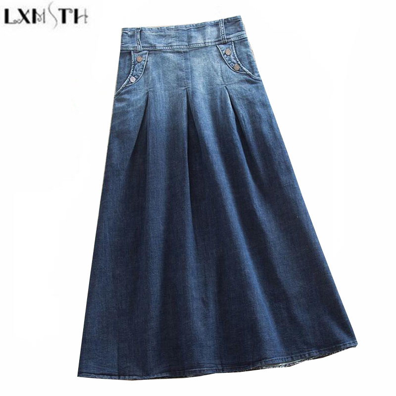 LXMSTH Vintage Womens Denim Skirts Plus Size Elastic Waist Gradient A Line Casual Skirts Women Long Jeans Skirt High Waist S-8XL