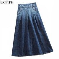 LXMSTH Vintage Womens Denim Skirts Plus Size Elastic Waist Gradient A Line Casual Skirts Women Long Jeans Skirt High Waist S 8XL