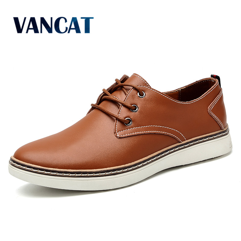 VANCAT Big Size High Quality Men Leather Shoes Fashion Casual Mens Shoes Luxury Brand Designer Men Shoes Leather Male Flats 2018 hot sale men shoes suede leather big size high quality fashion men s casual shoes european style mens shoes flats oxfords