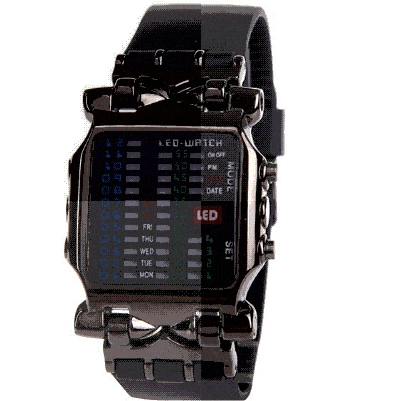 ФОТО EVECICO new binary digital watch belt LED students multi-function digital restoring ancient ways all black watch resin